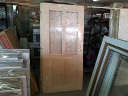 palubkové dveře, zatepleno 1cm polystyren, 2 skla
